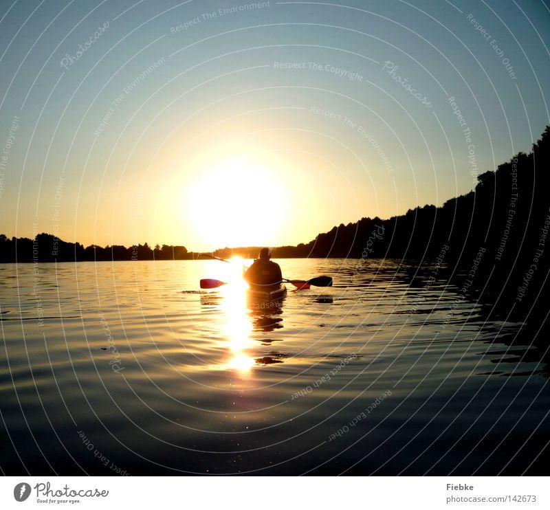 Stille Sonne Sonnenuntergang Abend See Wasser Wasserfahrzeug Kajak Paddeln fahren Ferien & Urlaub & Reisen Wellen Wald Baum Himmel blau Beleuchtung strahlend