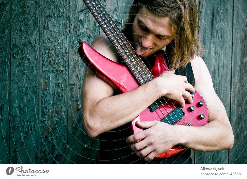Mach mir den Jimmy Mann Freude Holz Musik Zufriedenheit Kraft wild Aktion Konzert Rockmusik Leidenschaft Gitarre langhaarig Zunge