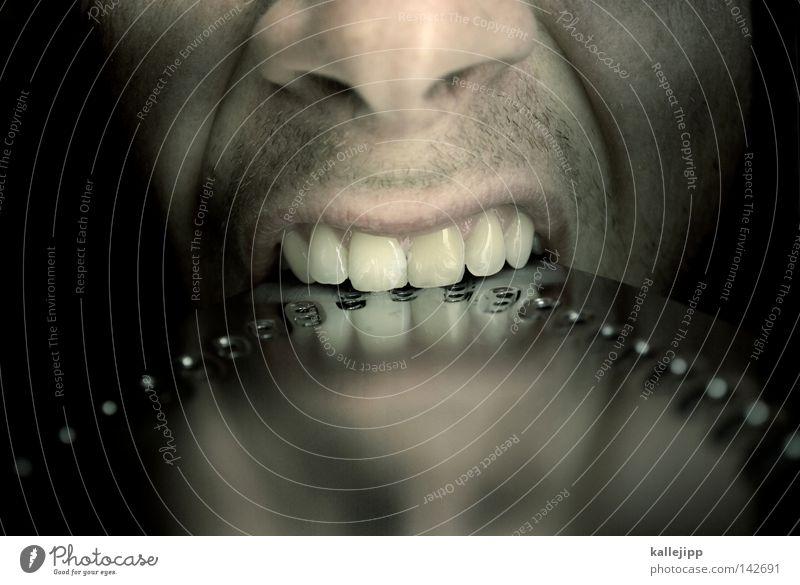zahnschmelze Mensch Mann Gesicht kalt Metall Essen glänzend Haut Nase verrückt Hautfalten Zähne Falte heiß Wut Stahl