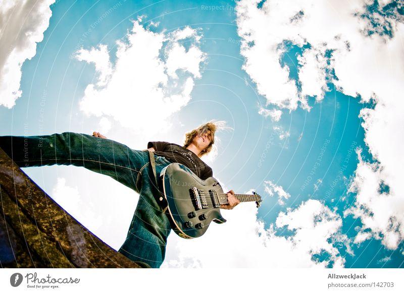 Open Hair 2 Mann Himmel Freude Wolken Musikinstrument Kraft Aktion Konzert Rockmusik Leidenschaft Wildtier Gitarre Brandenburg