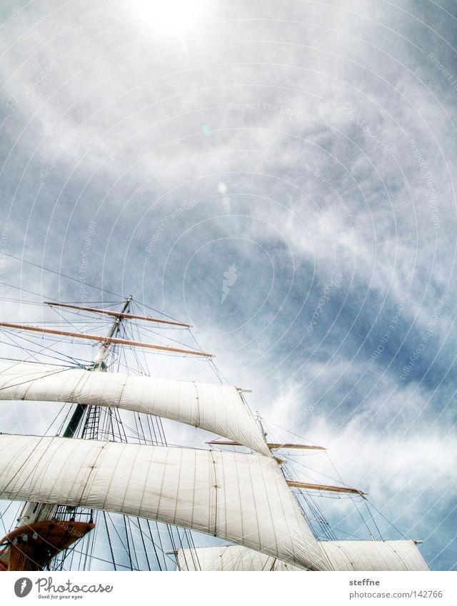 windjammer Himmel Sonne Meer Luft See Wasserfahrzeug historisch Schifffahrt Segeln Strommast Segelboot HDR Kreuzfahrt Seemann maritim