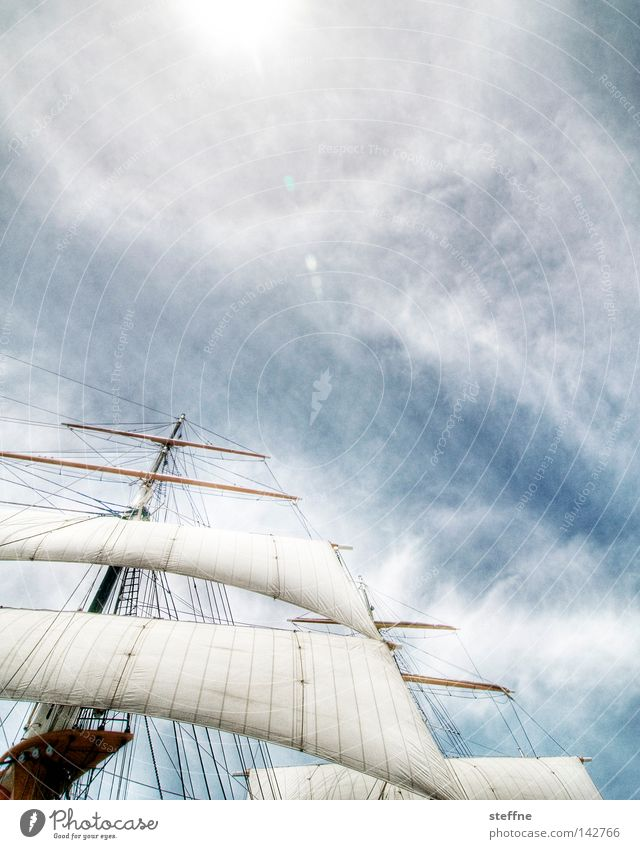 windjammer Himmel Sonne Meer Luft See Wasserfahrzeug historisch Schifffahrt Segeln Strommast Segel Segelboot HDR Kreuzfahrt Seemann maritim