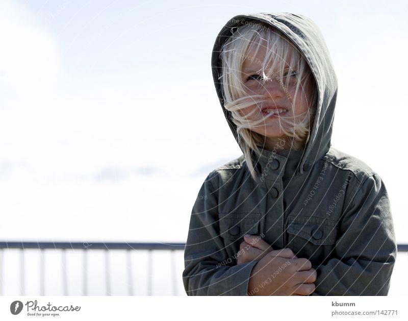 ...oben, und jetzt? Kind Mädchen Himmel Sommer kalt blond Kapuze Kopfbedeckung Zugspitze