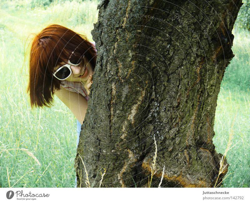 Mein Freund der Baum Frau Natur Sommer Freude Tier Wiese lachen Feld Brille verstecken Baumstamm Sonnenbrille Laune Baumrinde Versteck