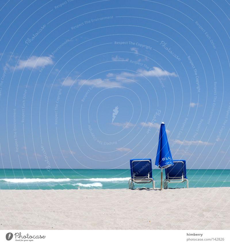i stock photocase Wasser schön Ferien & Urlaub & Reisen Sommer Meer Strand Erholung Sand Küste Wetter Wellen Horizont Insel USA Sonnenschirm türkis