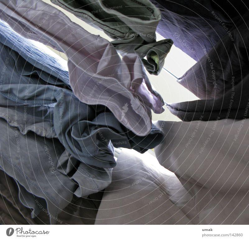 gewaschen weiß blau grau Seil Bekleidung T-Shirt Sauberkeit Wäsche trocknen hell-blau Waschtag Wäschetrockner