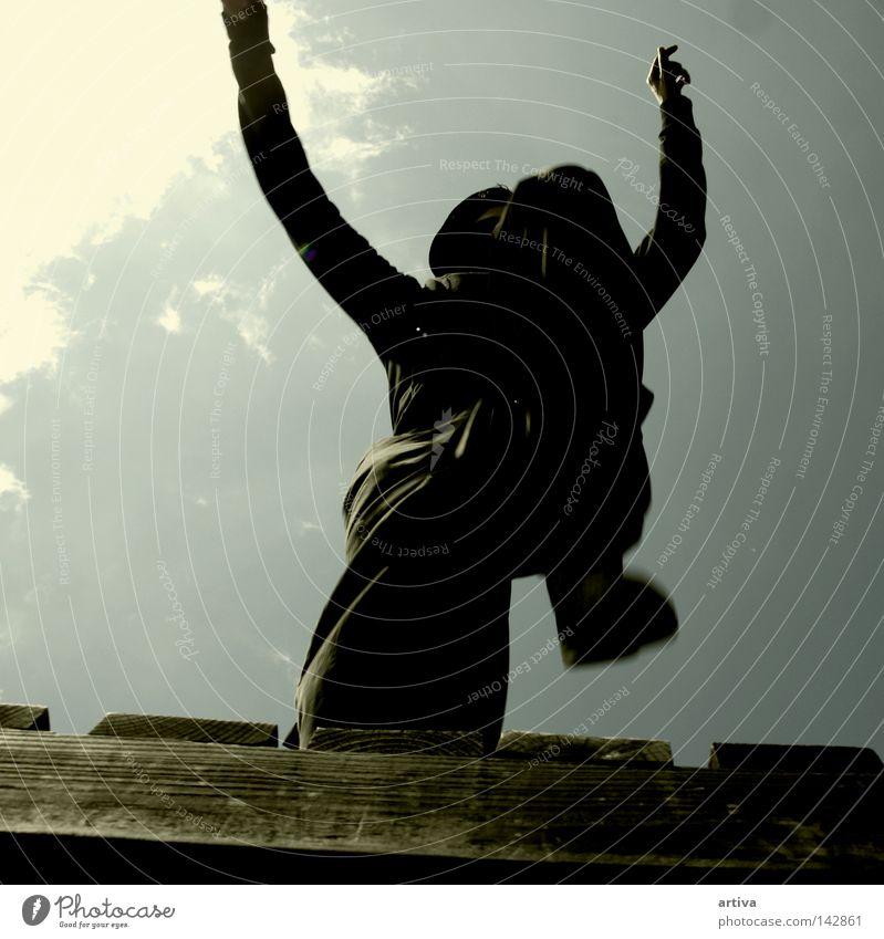 Himmel Mann springen Kraft Energie Macht Läufer extrem Extremsport