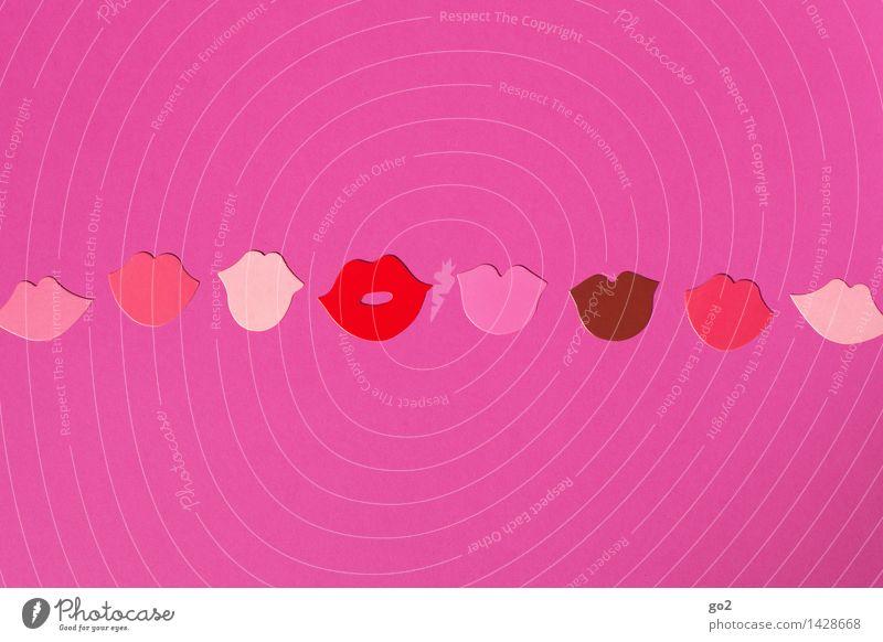 :-* schön rot Erotik Freude Gefühle feminin lachen rosa Fröhlichkeit ästhetisch Kommunizieren Lächeln Mund Lebensfreude einzigartig Papier