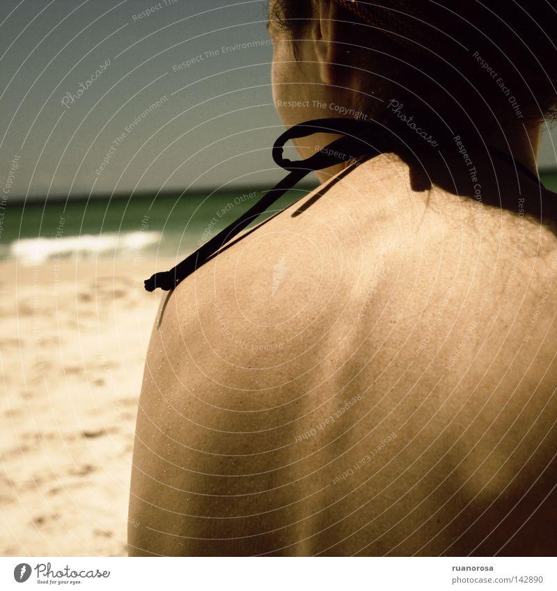 Acilai Frau Jugendliche Wasser Meer Sommer Strand Ferien & Urlaub & Reisen Haare & Frisuren Sand Behaarung brünett Erfrischung Schleife Bräune