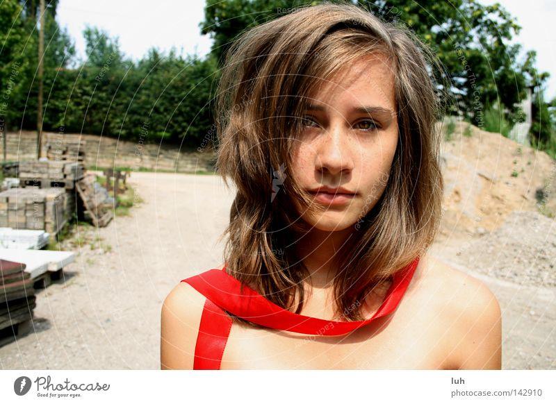 red passion. schön Gesicht Sommer Junge Frau Jugendliche Erwachsene 13-18 Jahre Kind brünett langhaarig Schleife rot Ehrlichkeit Abenteuer Beautyfotografie