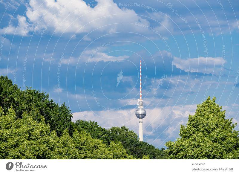 Der Berliner Fernsehturm Natur Ferien & Urlaub & Reisen Stadt blau grün Baum Wolken Architektur Tourismus Bauwerk Wahrzeichen Hauptstadt Stadtzentrum