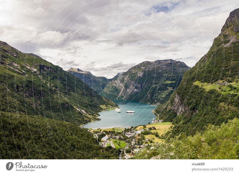 Blick auf den Geirangerfjord Erholung Ferien & Urlaub & Reisen Kreuzfahrt Berge u. Gebirge Natur Landschaft Wasser Wolken Fjord Idylle Tourismus Norwegen