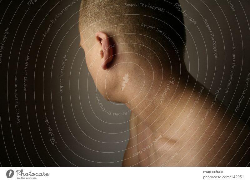 rückblickend Mensch Mann Erwachsene Einsamkeit Gefühle Kopf Denken Stimmung Rücken Haut maskulin Trauer weich Ohr zart Konzentration