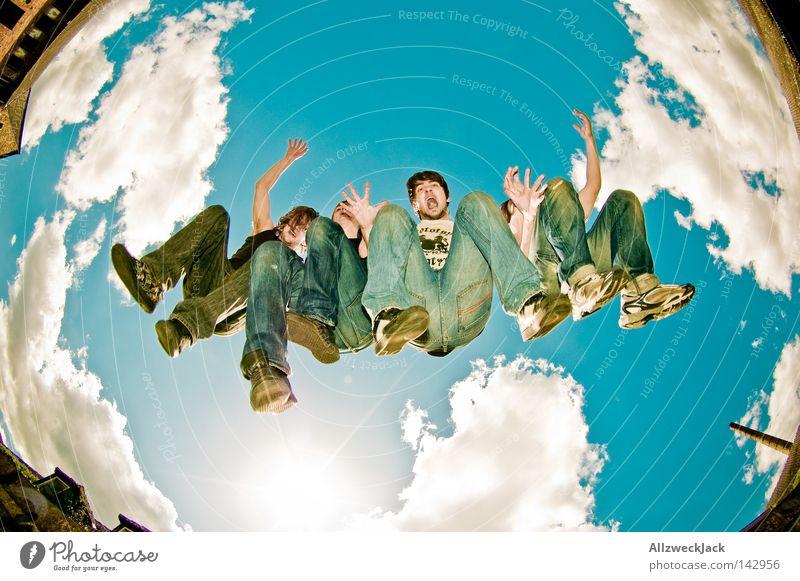 Die Überflieger Musik Himmel Fischauge Freude springen Menschengruppe Mensch Jeanshose Gesäß musizieren Hinterteil 4 wild Leidenschaft Band