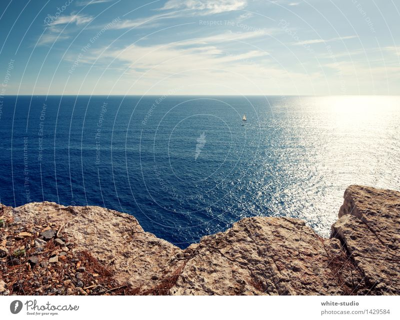 gute Aussicht! Umwelt Natur Wasser Himmel Wolkenloser Himmel Sonne Sommer Wetter Schönes Wetter Küste Strand Bucht Meer Erholung Segeln Ferien & Urlaub & Reisen