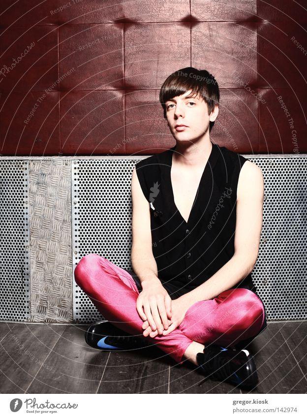Jugendliche Mann weiß schwarz Wand Stil Hintergrundbild Holz Kunst Mode braun Party rosa neu Frieden Gelassenheit
