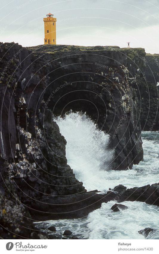 Am Ende Europas Meer Küste Felsen Island Leuchtturm Brandung Gischt Snæfellsnes