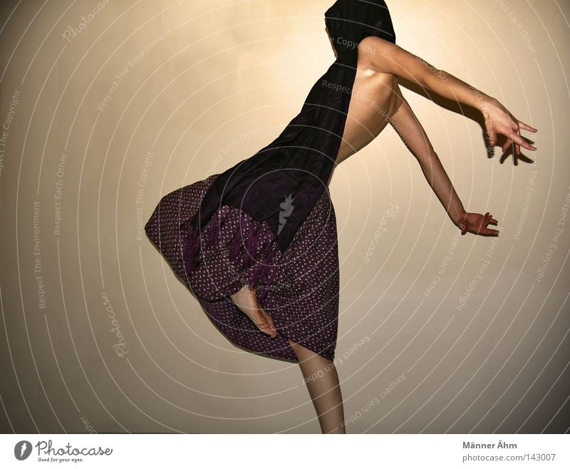 Schwing Dein Tanzbein. Frau Blume feminin Wand Bewegung springen Beine Fuß Kraft Tanzen Rücken Arme Finger Bekleidung Körperhaltung