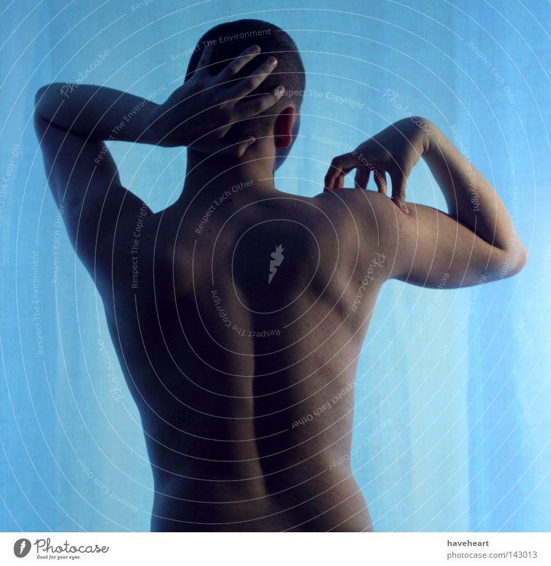 Mann nackt Kopf Haut maskulin Rücken Körperhaltung dünn Akt Muskulatur gestikulieren Identität Anspannung kurzhaarig Ausdruck Tastsinn