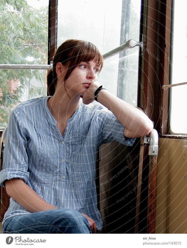 Sitting, waiting, dreaming of you [Weimar 08] Ferien & Urlaub & Reisen Einsamkeit ruhig Glück Denken träumen geschlossen sitzen warten Eisenbahn zart Vertrauen