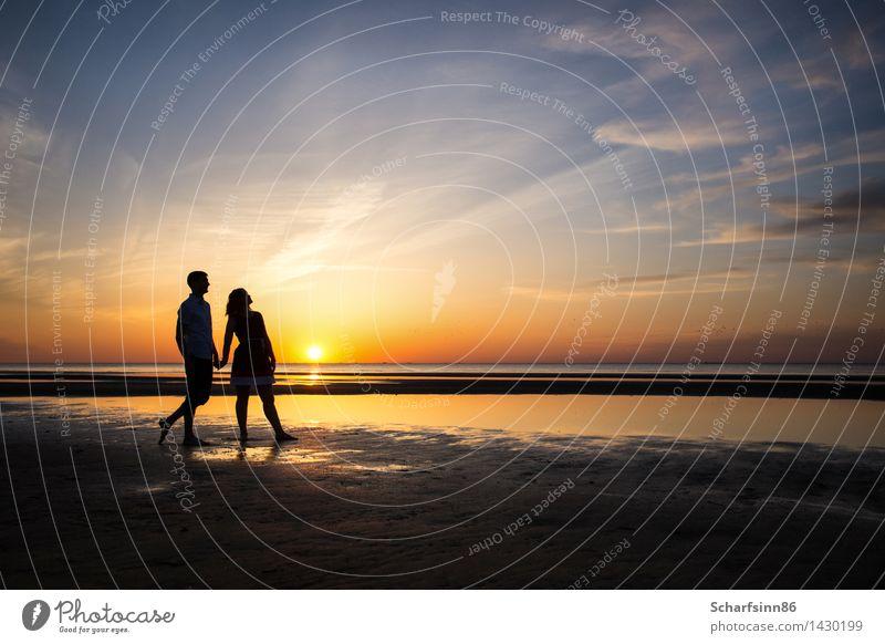 Liebespaar, Silhouetten Lifestyle exotisch schön Erholung Ferien & Urlaub & Reisen Sommer Sommerurlaub Sonne Strand Meer Wellen Mensch Junge Frau Jugendliche