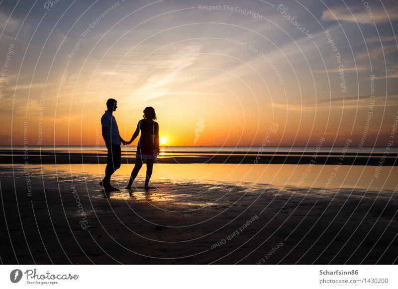 Liebespaar, Silhouetten Mensch Ferien & Urlaub & Reisen Jugendliche Sommer Wasser Sonne Meer Erholung Landschaft Wolken Strand Erwachsene Leben