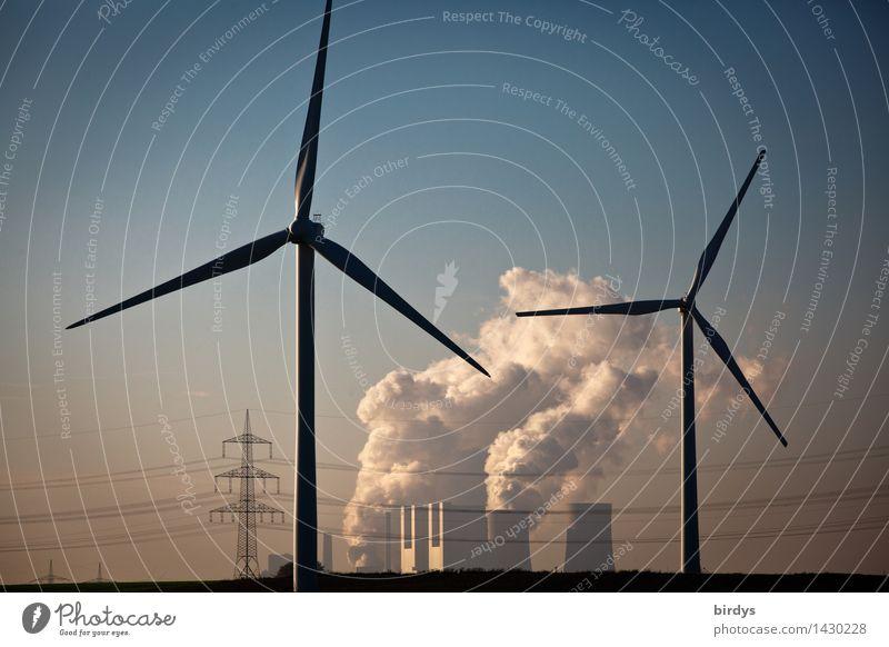 Kraftwerk Neurath Technik & Technologie Energiewirtschaft Erneuerbare Energie Windkraftanlage Kohlekraftwerk Wolkenloser Himmel Klimawandel Schönes Wetter