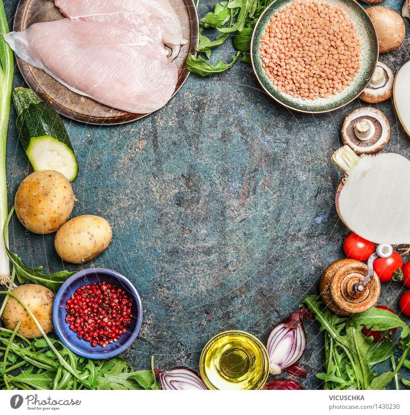 Hähnchenbrust, roten Linsen und frisches Gemüse Gesunde Ernährung Leben Foodfotografie Stil Hintergrundbild Lebensmittel Design frisch Ernährung Tisch Kochen & Garen & Backen Kräuter & Gewürze Küche Gemüse Bioprodukte Geschirr