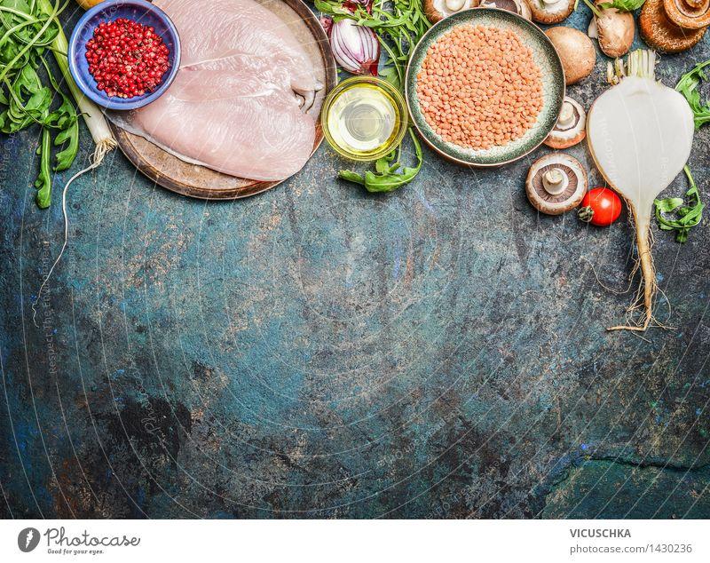 Hähnchenbrust, roten Linsen , Gemüse und andere Zutaten Gesunde Ernährung Leben Foodfotografie Stil Hintergrundbild Lebensmittel Design frisch Tisch