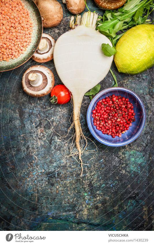 Frisches Gemüse mit roten Linsen für gesundes Kochen Gesunde Ernährung Leben Essen Foodfotografie Stil Lebensmittel Design Kochen & Garen & Backen