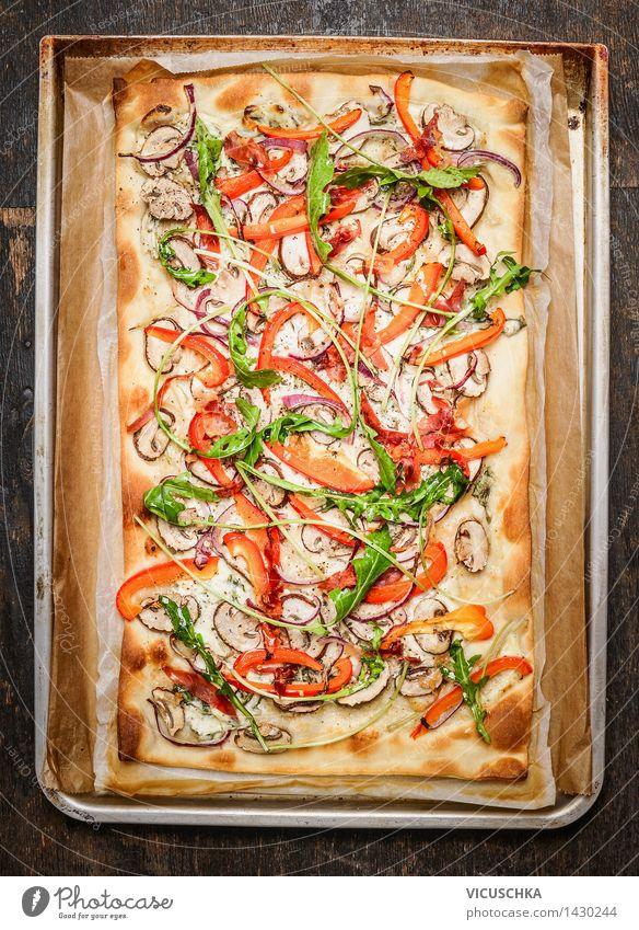 Vegetarisch Flammkuchen auf alten Backform Gesunde Ernährung Leben Speise Essen Foodfotografie Stil Lebensmittel Design Tisch Kochen & Garen & Backen