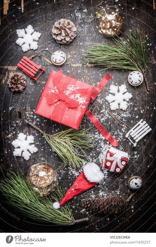 Weihnachtsgeschenk mit Winter- und Weihnachtsschmuck Weihnachten & Advent Schnee Stil Feste & Feiern Party Design Dekoration & Verzierung retro Postkarte