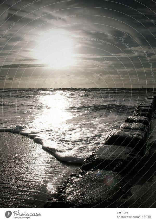 Flutlicht Wasser Sonne Freude Strand Ferien & Urlaub & Reisen Erholung Wärme Sand Wellen Küste Energie Insel Pause Freizeit & Hobby Nordsee Wohlgefühl