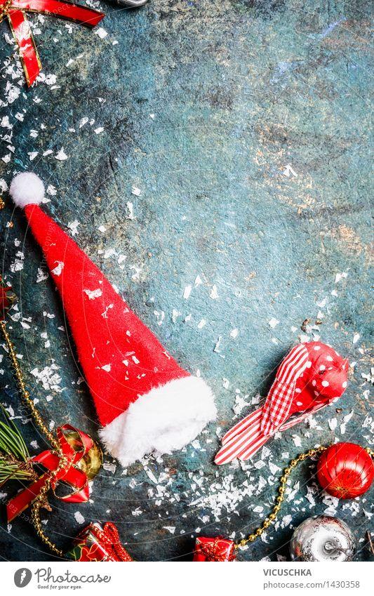 Weihnachtskarte mit Weihnachtsmannmütze und Schnee Stil Design Winter Veranstaltung Feste & Feiern Tradition altehrwürdig Hintergrundbild Top Mütze
