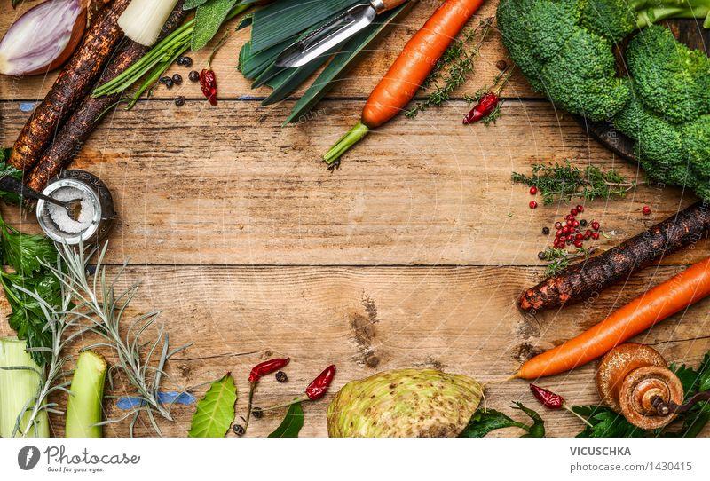 Frisches Gemüse Zutaten für Brühe Gesunde Ernährung gelb Leben Foodfotografie Stil Lebensmittel Design Tisch kaufen kochen & garen Küche Bioprodukte