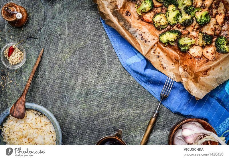 Geröstetes Hühnerfleisch mit Brokkoli und Sojasauce Lebensmittel Fleisch Gemüse Getreide Kräuter & Gewürze Öl Ernährung Mittagessen Abendessen Büffet Brunch