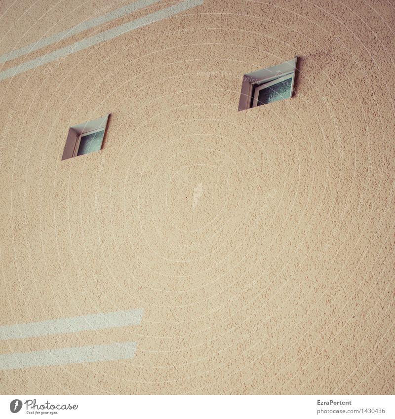Zwiespalt Haus Bauwerk Gebäude Architektur Mauer Wand Fassade Fenster Stein Linie Streifen gelb grau ästhetisch Design Putz Grafik u. Illustration