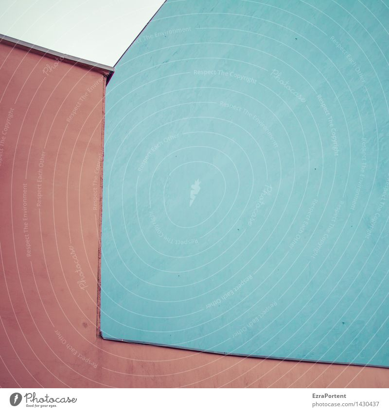 R|B Stadt Haus Bauwerk Gebäude Architektur Mauer Wand Fassade Stein Linie ästhetisch eckig blau rot Design Farbe Geometrie Putzfassade Freiraum