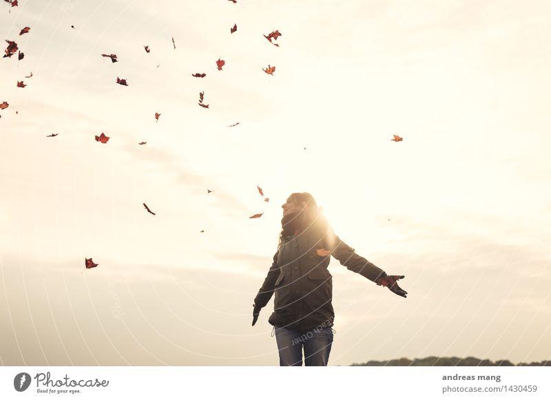 # 312 / Herbstflug Jugendliche Junge Frau Blatt Freude Ferne kalt Umwelt Leben Bewegung Glück Freiheit fliegen träumen Zufriedenheit frei