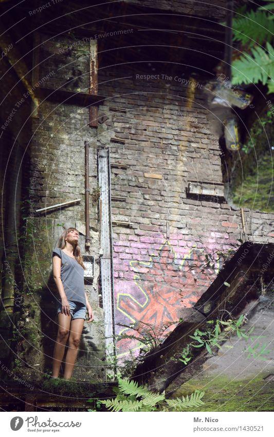 lost places Stadt Pflanze Einsamkeit dunkel Wand Graffiti feminin Gebäude Mauer Beine dreckig stehen Haut beobachten Verfall langhaarig