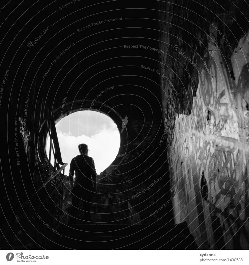 Nach draußen Lifestyle Mensch Junger Mann Jugendliche Leben 18-30 Jahre Erwachsene Fabrik Ruine Mauer Wand Treppe Fenster Graffiti Abenteuer Beginn Beratung