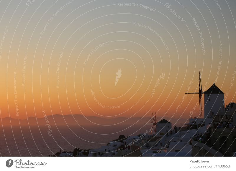 Santorin Lifestyle harmonisch ruhig Ferien & Urlaub & Reisen Tourismus Sommer Sonnenbad Strand Meer Insel Landschaft Horizont Sonnenaufgang Sonnenuntergang
