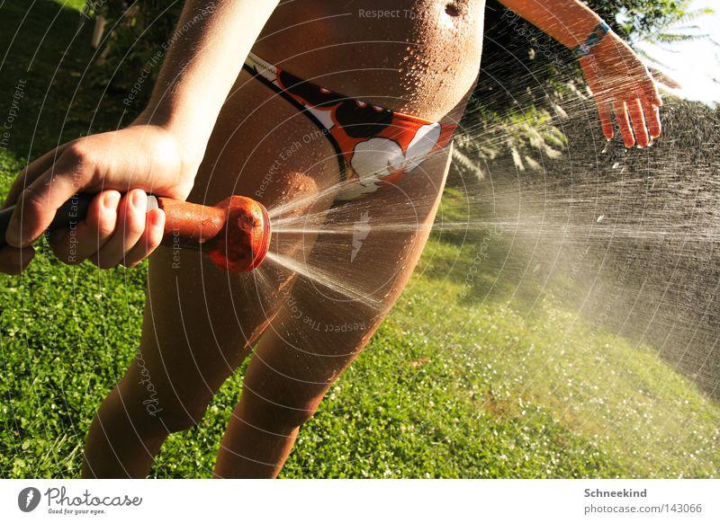 Hitzefrei Sommer Garten Schlauch Gartenschlauch Frau Dame kühlen kalt Physik heiß Schatten Bikini Bauch Beine Hand Nieselregen Wasser Trinkwasser Pause