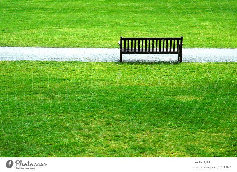 Rentnerparadies. Parkbank Bank Bankgebäude Sitzgelegenheit Holz ruhig Frieden Garten Gartenbau frisch Luft Spaziergang Pause Erholung Englisch Verschnaufpause