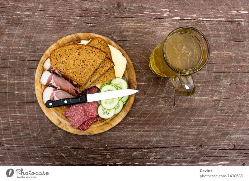 Brotzeit II Lebensmittel Fleisch Wurstwaren Käse Gemüse Ernährung Mittagessen Picknick Limonade Messer wandern Appetit & Hunger Salami Speck Käsebrot