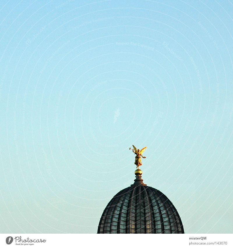 I love Dresden. Himmel alt blau dunkel Architektur Kunst hell gold hoch Gold Kultur Dach historisch Engel Sehenswürdigkeit Statue