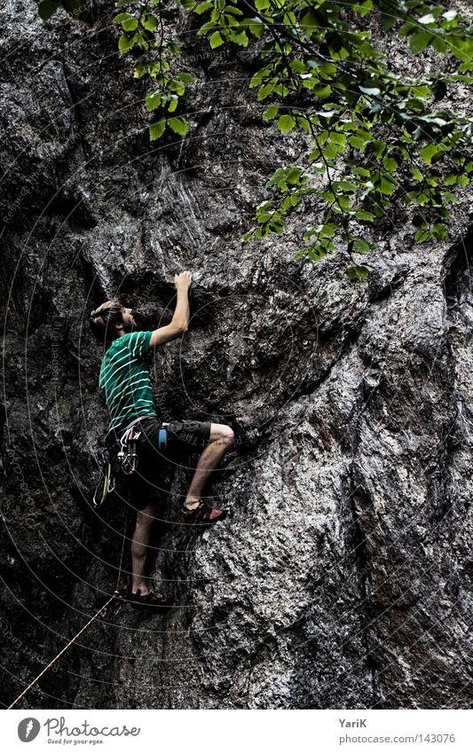 hang on Bergsteigen Bergsteiger Felsen Mann Stein steinig Freeclimbing abwärts unten abseilen Seil Kletterseil Gürtel Absicherung retten Blatt Dach Wolken Baum