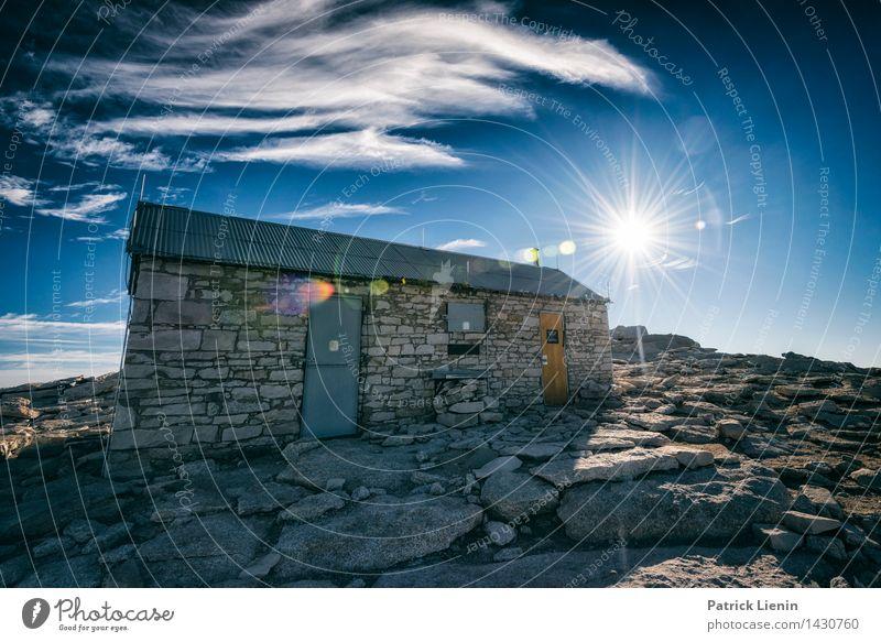 Berghütte Himmel Natur Ferien & Urlaub & Reisen Sommer Sonne Landschaft Wolken Ferne Berge u. Gebirge Umwelt Leben Tourismus Zufriedenheit Wetter Luft Erde