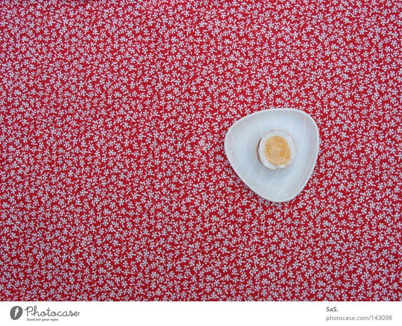 Ei, da schau her. weiß rot Blume Einsamkeit gelb Ernährung oben Tisch Muster retro Stoff Küche Kochen & Garen & Backen Vogelperspektive lecker Frühstück