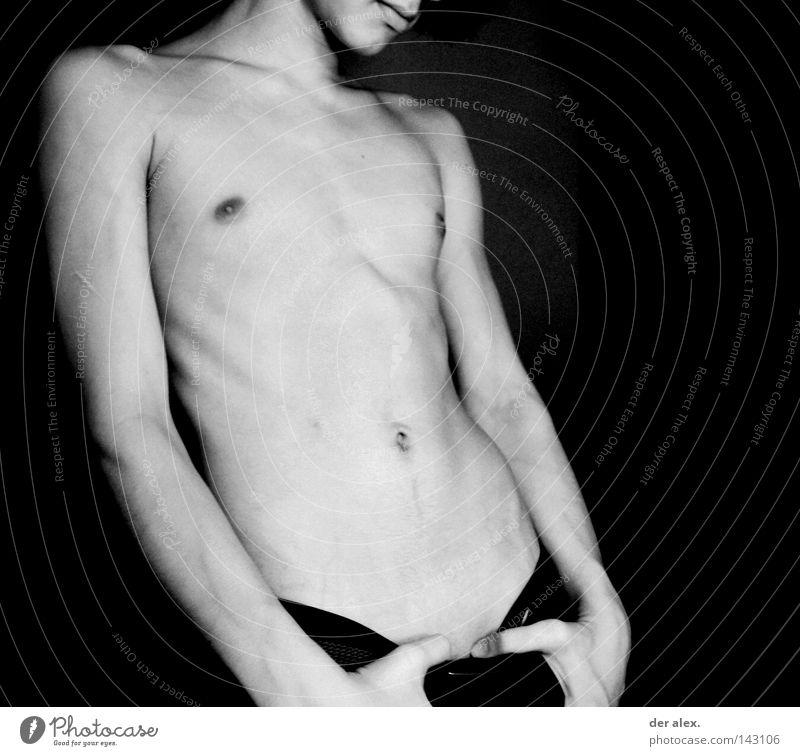 lèvres Körper nackt dünn Schwarzweißfoto Erotik Lippen Akt Haut boy Männlicher Akt